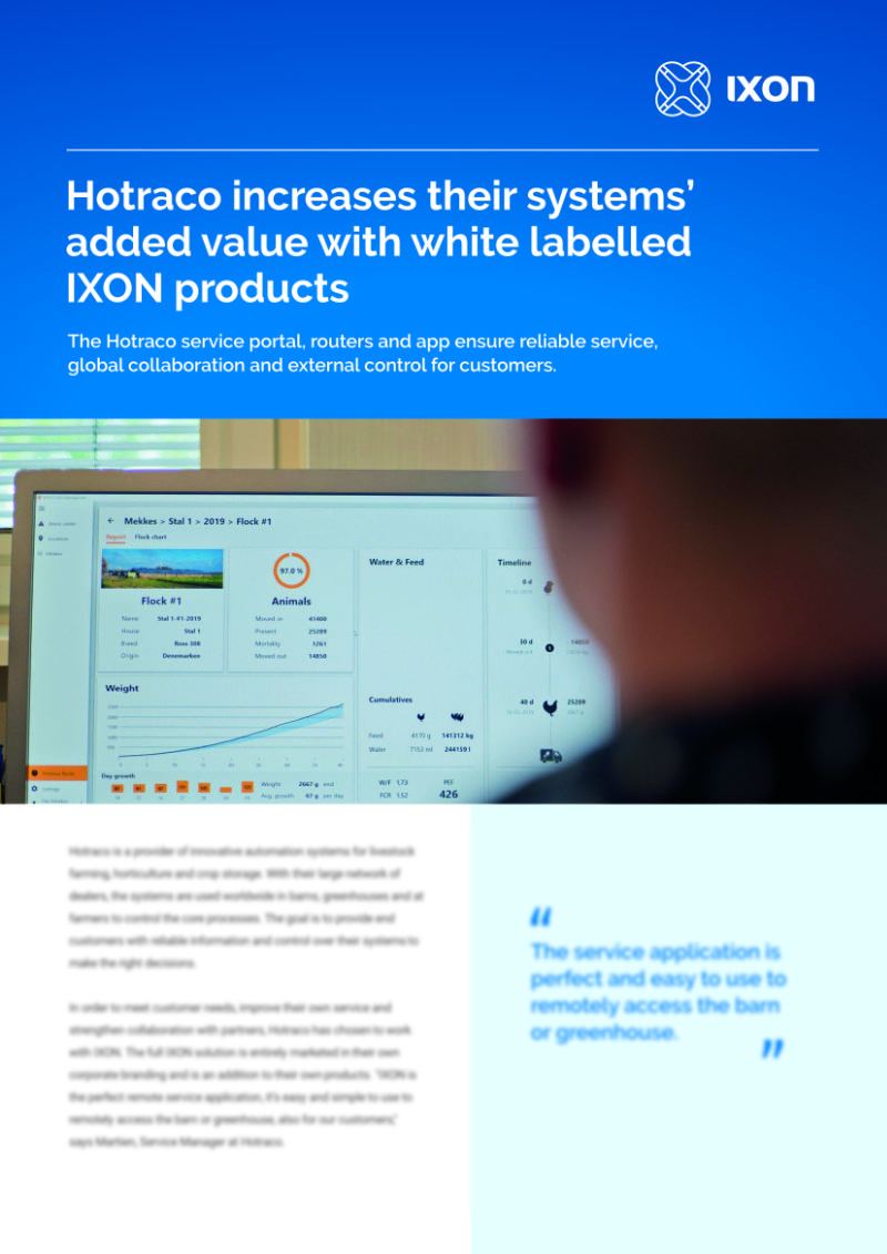 Case study Hotraco using IXON Cloud white labelling for added value to their systems
