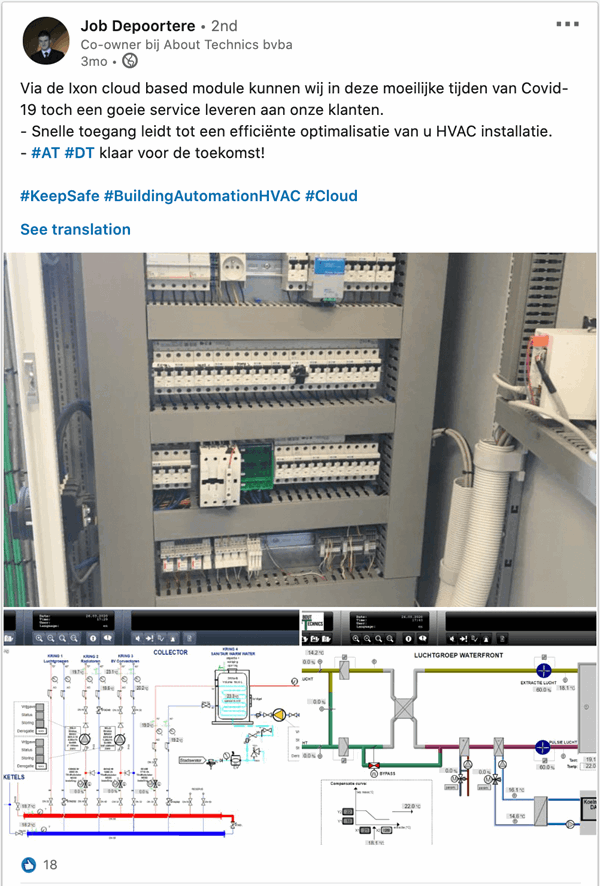 About Technics bvba using IXON Cloud for remote access to HVAC systems