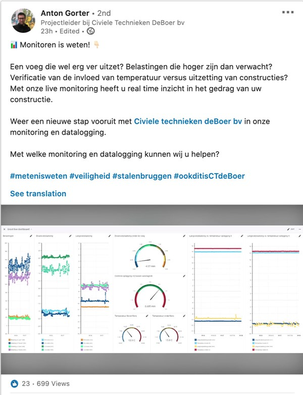 Civiele Technieken de Boer - Datalogging and monitoring in IXON Cloud live dashboard for construction