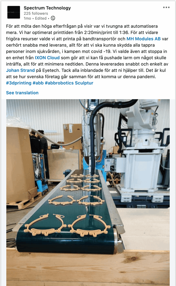 Spectrum technology using IXON Cloud for sending industrial ABB robot alarms
