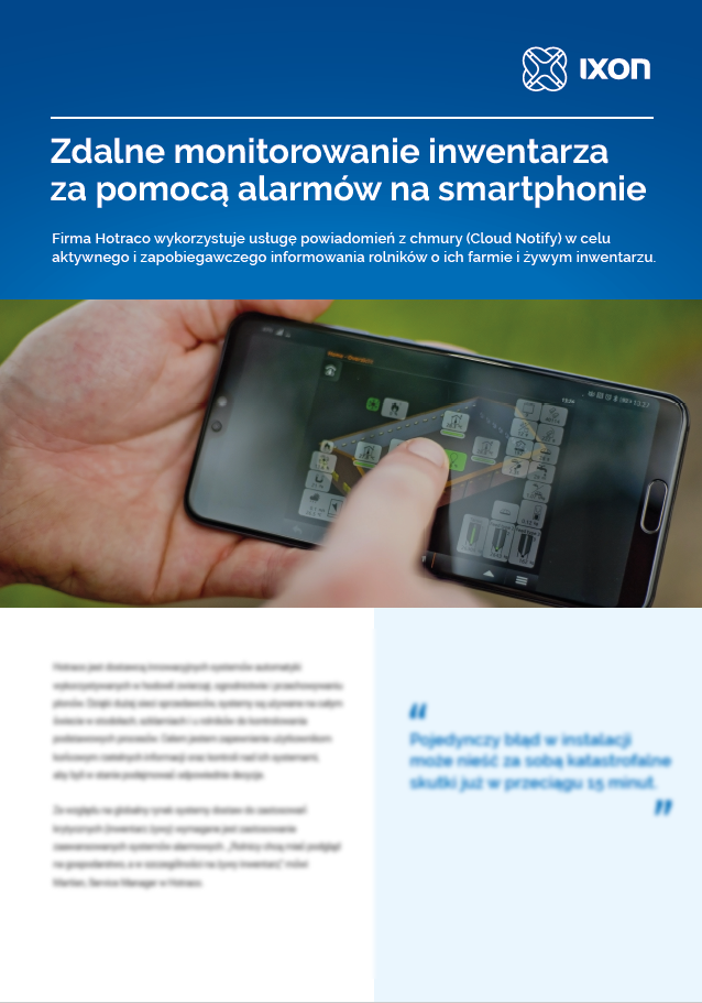 Case study Hotraco using IXON Cloud Notify for smartphone alarming of livestock and barns