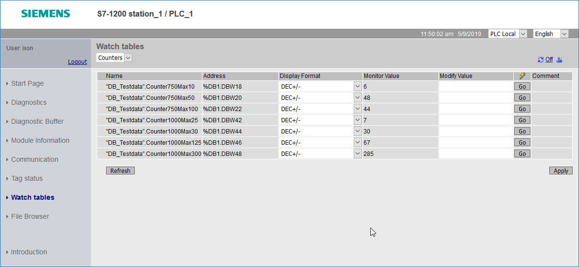 An example of a watch table on the HTTP server of your Siemens PLC, accessible via IXON Cloud.