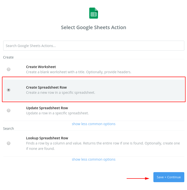 Step 13. Create new spreadsheet row - IXON Cloud integration