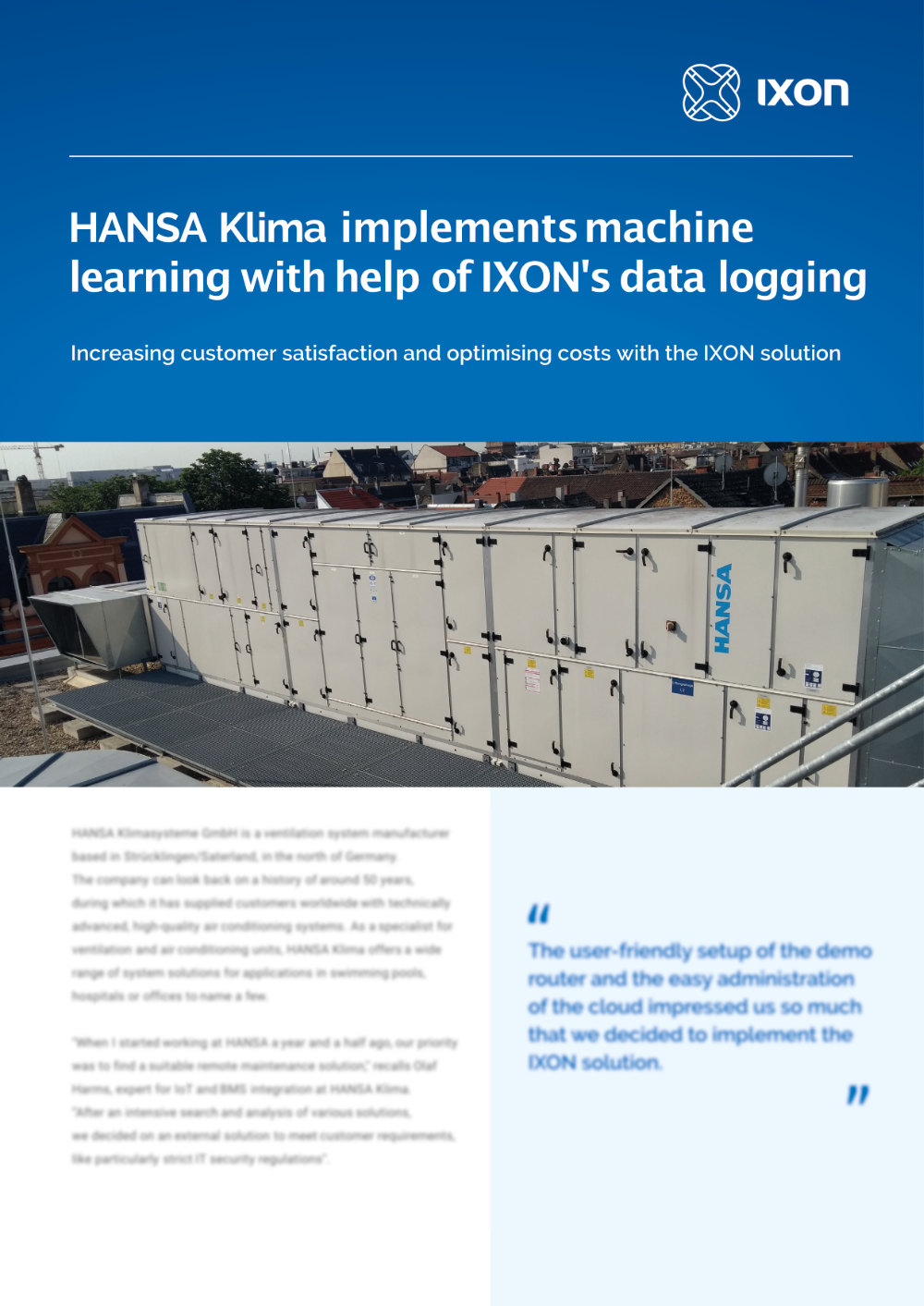 Case study HANSA Klima & IXON Cloud